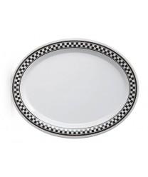 "GET Enterprises OP-120-X Diamond Chexers Oval Platter, 12""x 9""(1 Dozen)"