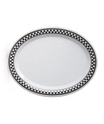 "GET Enterprises OP-950-X Diamond Chexers Oval Platter, 9-3/4""x 7 1/4' (2 Dozen)"