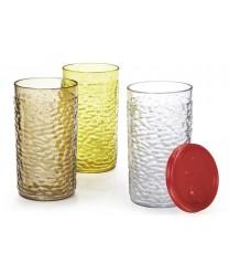 GET Enterprises 3316-CL Waikiki Clear Textured Drinkware Tumblers, 16 oz. (6 Dozen)