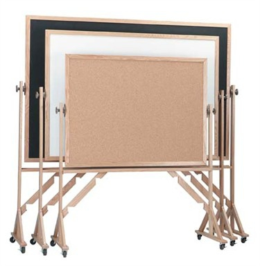 Aarco RC3648 Reversible Free Standing Composition Chalkboard with Oak Frame 36