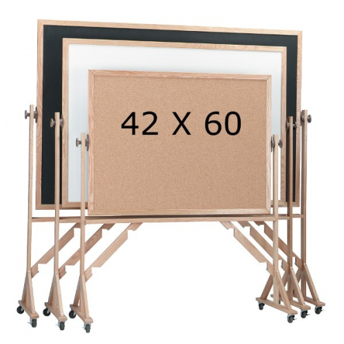 Aarco RC4260 Reversible Free Standing Composition Chalkboard with Oak Frame 42