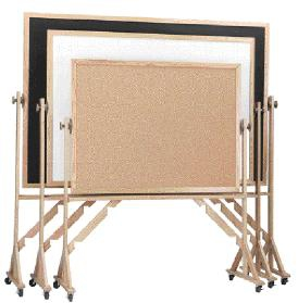 Aarco RBC3648 Reversible Free Standing Chalk / Cork Board with Wood Frame 36