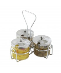 Winco WH-4 3-Ring Condiment Jar Holder