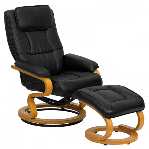 Flash Furniture Contemporary Black Leather Recliner and Ottoman with Swiveling Maple Wood Base [BT-7615-BK-CURV-GG]