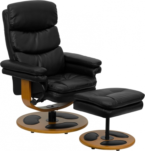 Flash Furniture Contemporary Black Leather Recliner and Ottoman with Wood Base [BT-7828-PILLOW-GG]