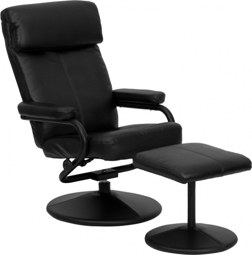 Flash Furniture Contemporary Black Leather Recliner and Ottoman with Leather Wrapped Base [BT-7863-BK-GG]