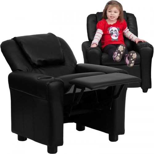 Flash Furniture Contemporary Black Vinyl Kids Recliner with Cup Holder and Headrest [DG-ULT-KID-BK-GG]