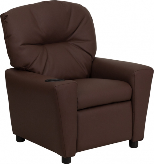 Delicieux Flash Furniture Contemporary Brown Leather Kids Recliner With Cup Holder  [BT 7950 KID