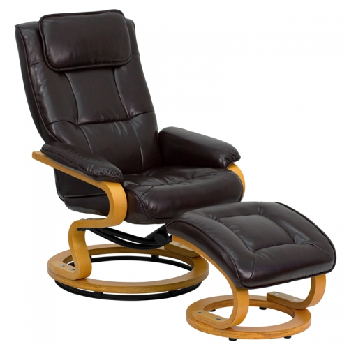 Flash Furniture Contemporary Brown Leather Recliner and Ottoman with Swiveling Maple Wood Base [BT-7615-BN-CURV-GG]
