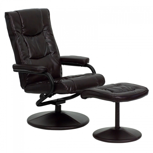 Flash Furniture Contemporary Brown Leather Recliner and Ottoman with Leather Wrapped Base [BT-7862-BN-GG]