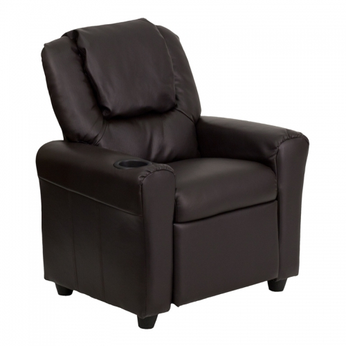Flash Furniture Contemporary Brown Vinyl Kids Recliner with Cup Holder and Headrest [DG-ULT-KID-BRN-GG]
