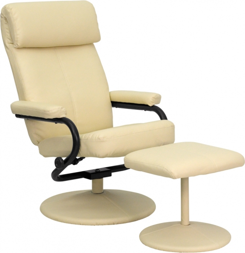Flash Furniture Contemporary Cream Leather Recliner and Ottoman with Leather Wrapped Base [BT-7863-CREAM-GG]