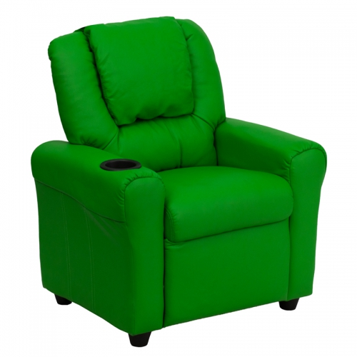 Flash Furniture Contemporary Green Vinyl Kids Recliner with Cup Holder and Headrest [DG-ULT-KID-GRN-GG]