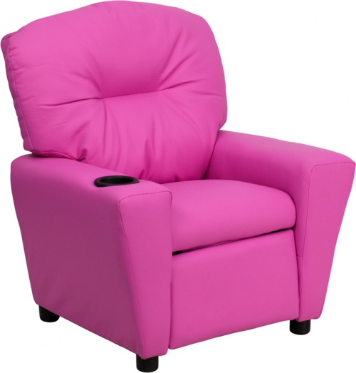 Flash Furniture Contemporary Hot Pink Vinyl Kids Recliner with Cup Holder [BT-7950-KID-HOT-PINK-GG]