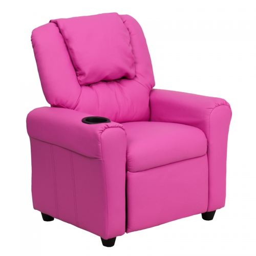 Flash Furniture Contemporary Hot Pink Vinyl Kids Recliner with Cup Holder and Headrest [DG-ULT-KID-HOT-PINK-GG]