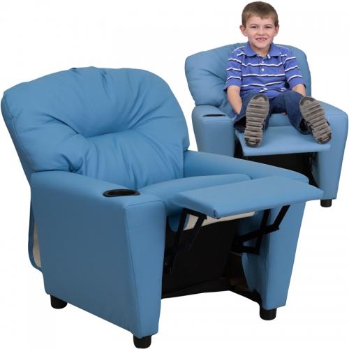 Flash Furniture Contemporary Light Blue Vinyl Kids Recliner with Cup Holder [BT-7950-KID-LTBLUE-GG]