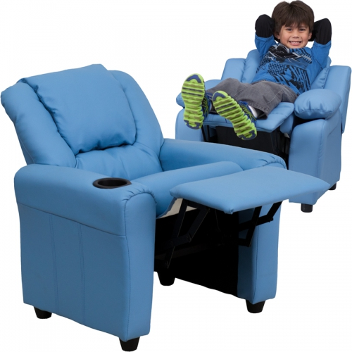 Flash Furniture Contemporary Light Blue Vinyl Kids Recliner with Cup Holder and Headrest [DG-ULT-KID-LTBLUE-GG]