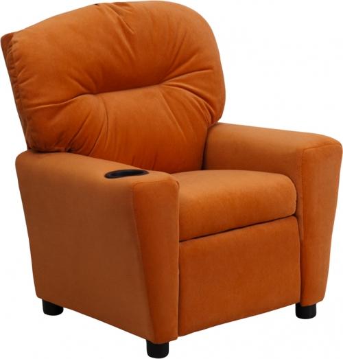 Flash Furniture Contemporary Orange Microfiber Kids Recliner with Cup Holder [BT-7950-KID-MIC-ORG-GG]