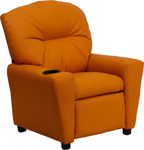 Flash Furniture Contemporary Orange Vinyl Kids Recliner with Cup Holder [BT-7950-KID-ORANGE-GG]