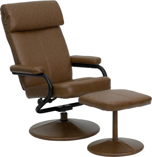 Flash Furniture Contemporary Palomino Leather Recliner and Ottoman with Leather Wrapped Base [BT-7863-PALOMINO-GG]