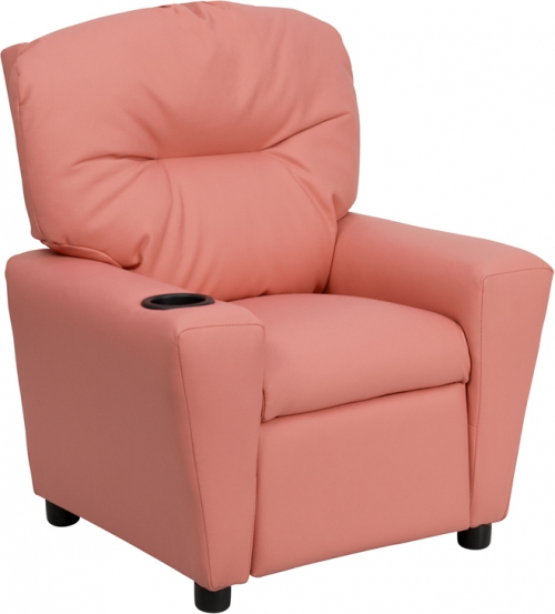 Flash Furniture Contemporary Pink Vinyl Kids Recliner with Cup Holder [BT-7950-KID-PINK-GG]
