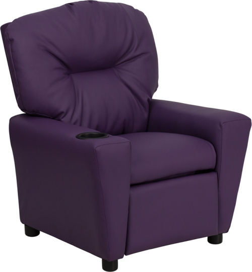 Flash Furniture Contemporary Purple Vinyl Kids Recliner with Cup Holder [BT-7950-KID-PUR-GG]