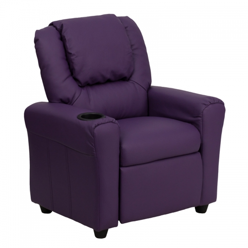 Flash Furniture Contemporary Purple Vinyl Kids Recliner with Cup Holder and Headrest [DG-ULT-KID-PUR-GG]
