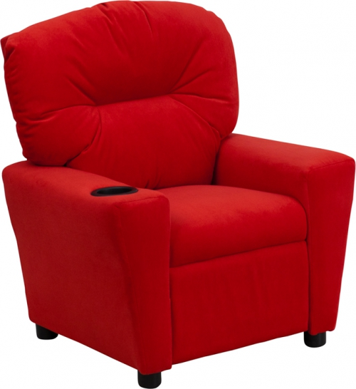 Flash Furniture Contemporary Red Microfiber Kids Recliner with Cup Holder [BT-7950-KID-MIC-RED-GG]