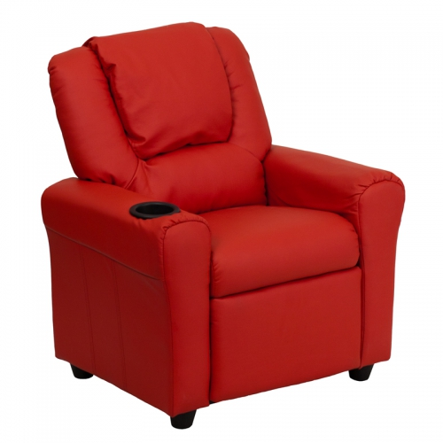 Flash Furniture Contemporary Red Vinyl Kids Recliner with Cup Holder and Headrest [DG-ULT-KID-RED-GG]