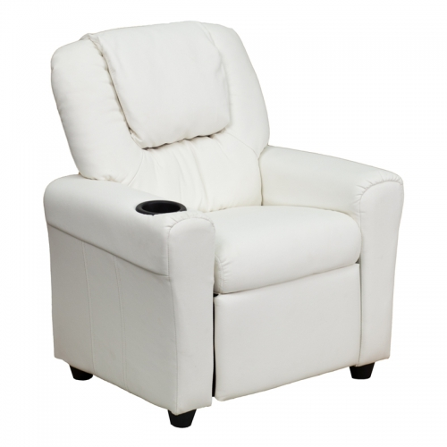 Flash Furniture Contemporary White Vinyl Kids Recliner with Cup Holder and Headrest [DG-ULT-KID-WHITE-GG]