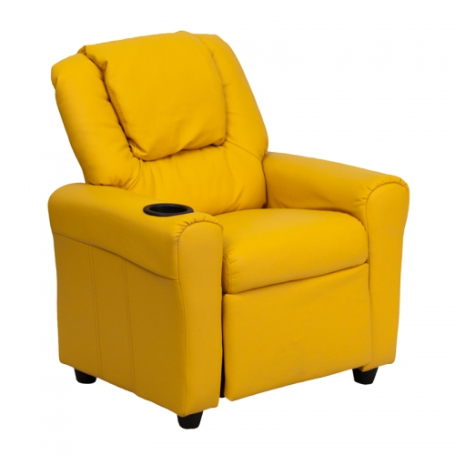 Flash Furniture Contemporary Yellow Vinyl Kids Recliner with Cup Holder and Headrest [DG-ULT-KID-YEL-GG]