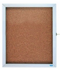 "Aarco EBC3630 Cork Board with Overlapping Hinged Door and Aluminum Frame 30"" x 36"""
