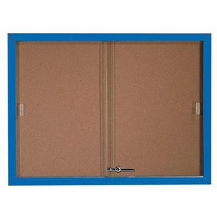 Aarco SBC3648B Enclosed Bulletin Board with Blue Powder Coated Aluminum Frame and Glass Sliding Doors 36