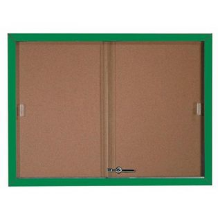 Aarco SBC3648G Enclosed Bulletin Board with Green Powder Coated Aluminum Frame and Glass Sliding Doors 36