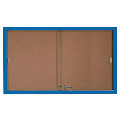 Aarco SBC3660B Enclosed Bulletin Board with Blue Powder Coated Aluminum Frame and Glass Sliding Doors 36