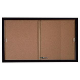 Aarco SBC3660BK Enclosed Bulletin Board with Black Powder Coated Aluminum Frame and Glass Sliding Doors 36