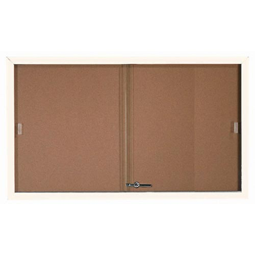 Aarco SBC3660W Enclosed Bulletin Board with White Powder Coated Aluminum Frame and Glass Sliding Doors 36