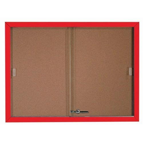 Aarco SBC3648R Enclosed Bulletin Board with Red Powder Coated Aluminum Frame and Glass Sliding Doorse 36