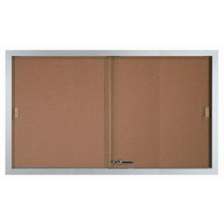 Aarco SBC3660 Indoor Enclosed Bulletin Board with Powder Coated Aluminum Frame  and 2 Sliding Doors 36''H x 60''W