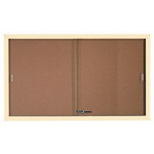 Aarco SBC3660IV Enclosed Bulletin Board with Ivory Powder Coated Aluminum Frame and Glass Sliding Doorse 36