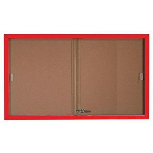 Aarco SBC3660R Enclosed Bulletin Board with Red Powder Coated Aluminum Frame and Glass Sliding Doorse 36
