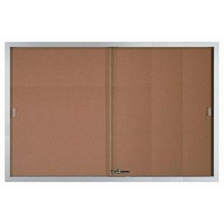 Aarco SBC4872 Enclosed Bulletin Board with Aluminum Frame and Glass Sliding Doors 48