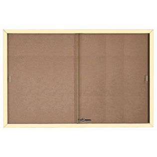 Aarco SBC4872IV Enclosed Bulletin Board with Ivory Powder Coated Aluminum Frame and Glass Sliding Doorse 48