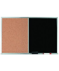 Aarco DCO2436B Combination Corkboard / Black Chalkboard with Aluminum Frame  24