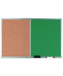 Aarco DCO2436G Combination Corkboard / Green Chalkboard with Aluminum Frame  24