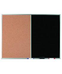 Aarco DCO3648B Combination Corkboard / Black Chalkboard with Aluminum Frame  36