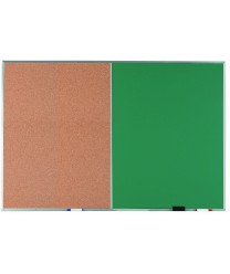 Aarco DCO4872G Combination Corkboard / Green Chalkboard with Aluminum Frame  48