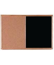 Aarco CO2436B Combination Corkboard / Black Chalkboard with Oak Frame 24