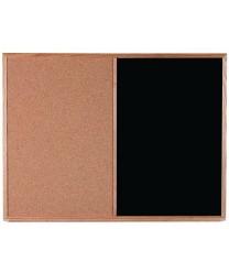 Aarco CO3648B Combination Corkboard / Black Chalkboard with Oak Frame 36