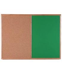 Aarco CO3648G Combination Corkboard / Green Chalkboard with Oak Frame 36